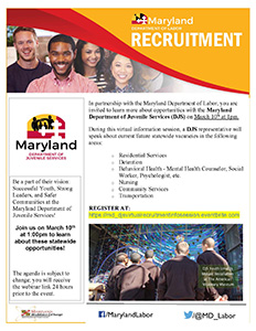 Maryland Department of Juvenile Services (DJS) at a virtual information session flyer