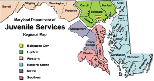 A regional map of the Maryland Department of Juvenile Services offices and facilities